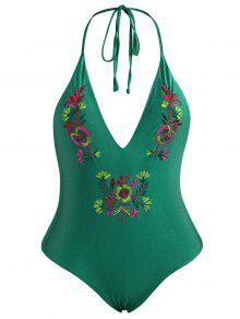 Embroidered Backless Plus Size Swimsuit - Green 2xl