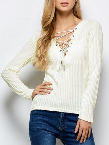 Ribbed Knit Lace Up Jumper - White M