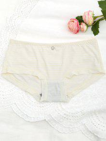 Contrast Stripe Underwear Hipster Panties - White And Yellow