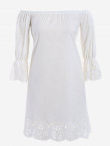 Laser Cut Plus Size Off Shoulder Dress - White 5xl