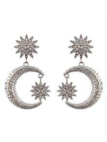 Rhinestone Sun Moon Drop Earrings - Silver