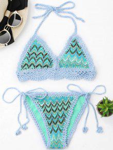 Zig Zag Crochet Bralette String Bikini - M