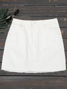 قطع الدنيم تنورة مصغرة - أبيض L