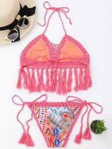 57b452fc1b0a1 2019 Tassel Argyle Crochet Bralette String Bikini In PINK S