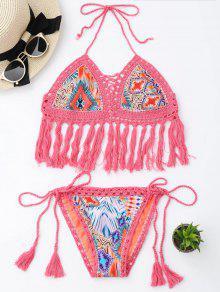 Tassel Argyle Crochet Bralette String Bikini - Pink S