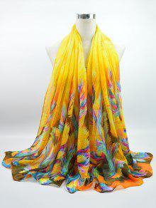 مولتيكولور ألوان مائية مطبوعة الفوال غوسامر شال وشاح - الأصفر