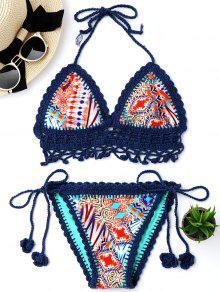 Juego De Bikini Con Cordones De Ganchillo Bralette - Azul L
