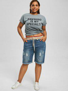6e2ccc5e87 28% OFF] 2019 Ripped Plus Size Denim Shorts In DENIM BLUE | ZAFUL