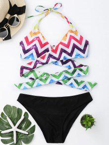 Colorful Zig Zag Wrap Bathing Suit - Black M