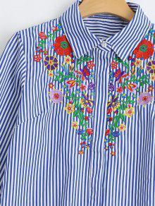Floral Bordada Rayas L Camisa Raya Las De Floja Axd5qOw