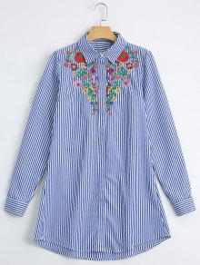 Loose Floral Embroidered Stripes Shirt - Stripe M