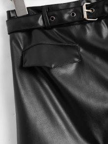 f18e15852 22% OFF] 2019 Asymmetric Zipper Belted Faux Leather Skirt In BLACK ...