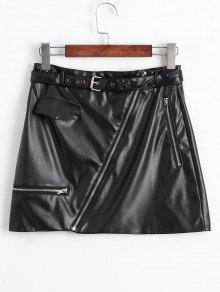 Falda Asimétrica Con Cremallera De Cuero Falso - Negro Xl