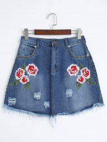 Floral Embroidered Cutoffs Ripped Denim Skirt - Denim Blue L