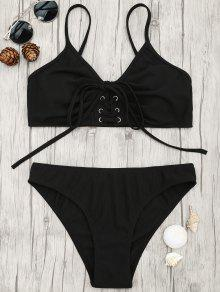 Eyelets Lace Up Bralette Bikini Set - Black S