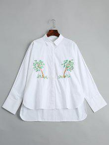 Tree Embroidered High Low Shirt - White M