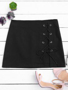 High Waisted Lace Up Bodycon Skirt - Black S