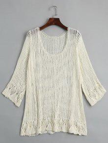 Knitted Crochet Cut Out Top - Palomino
