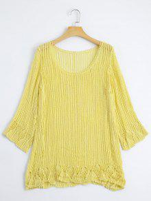 Top Cut Out En Crochet Tricoté - Jaune
