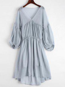 Lantern Sleeve Chiffon High Low Dress With Slip Dress - Blue Gray L