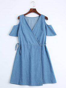 Casual Wrap Cold Shoulder Dress - Denim Blue S
