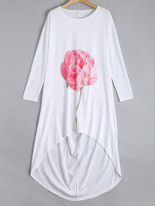 Drop Shoulder Flower High Low Dress - White S