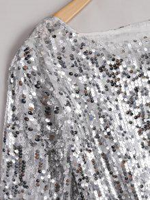 7b178b46f0f 34% OFF  2019 Plus Size Sequined Glitter T-shirt In SILVER 4XL