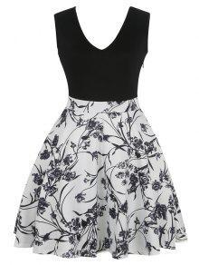 الأزهار المطبوعة أكمام اللباس - أسود S