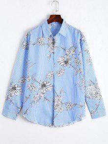 Floral Print Striped Long Shirt - Blue M