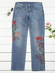 Bleach Wash Floral Embroidered Tapered Jeans - Denim Blue L