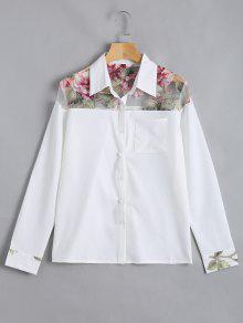 زر حتى الأزهار جيب قميص - أبيض M