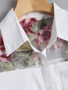 Floral De Encima Camisa La Xl 243;n Blanco Bolsillo Bot Del wTCxvXvqS