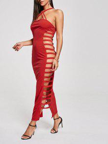 فستان نادي ماكسي متقاطع عارية الظهر - أحمر S