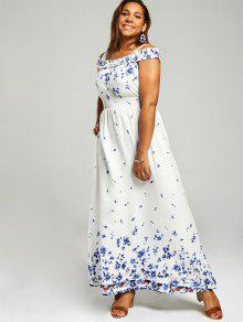 9cd1134821a 27% OFF  2019 Plus Size Floral Print Cold Shoulder Maxi Dress In ...