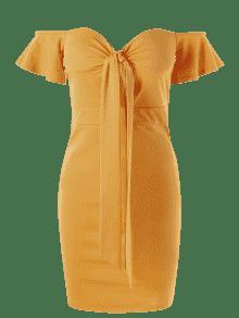 Hombro ido De Ce Fuera Cors 2xl 233; Amarillo Vestido Del OIxvqOZ