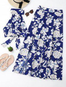 Floral Crop Top And Slit Skirt Set - Floral Xl