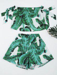 Corte De Hojas De Impresión De Hojas Y Pantalones Cortos - Verde L