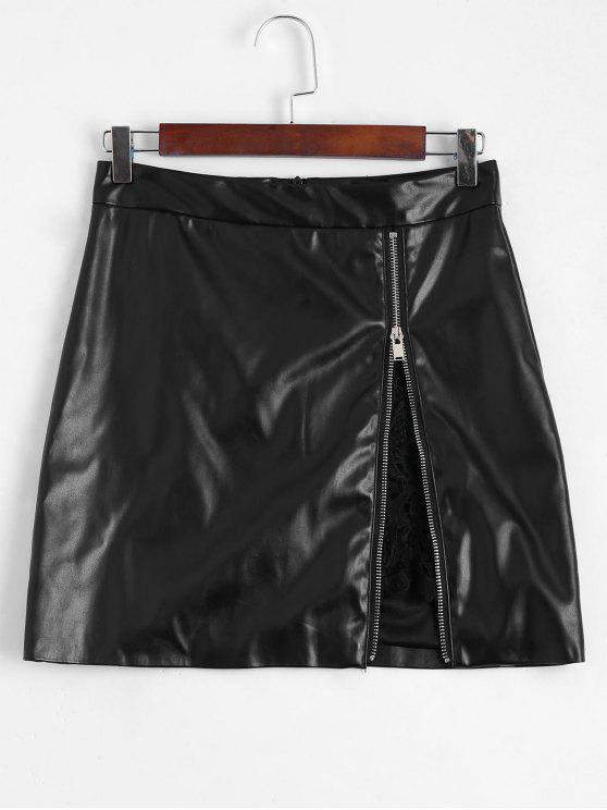 fancy Zip Up Lace Panel Faux Leather Skirt - BLACK M