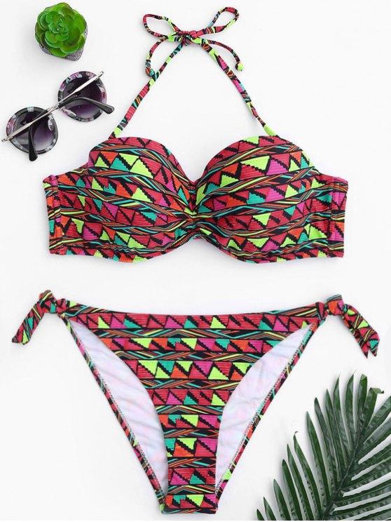 hot Geo Print Underwire Fuller Bust Bikini Set - MULTICOLOR S