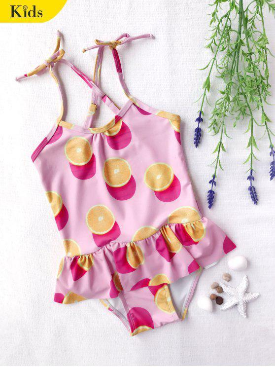 online Bow Tie Orange Print Kids One Piece Swimsuit - PINK 7T