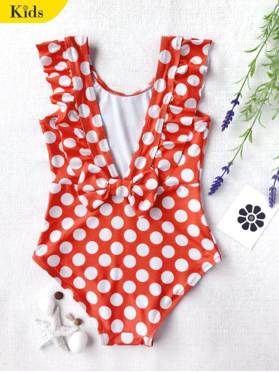 البولكا نقطة كشكش الاطفال قطعة واحدة ملابس السباحة - الأبيض والأحمر 8T
