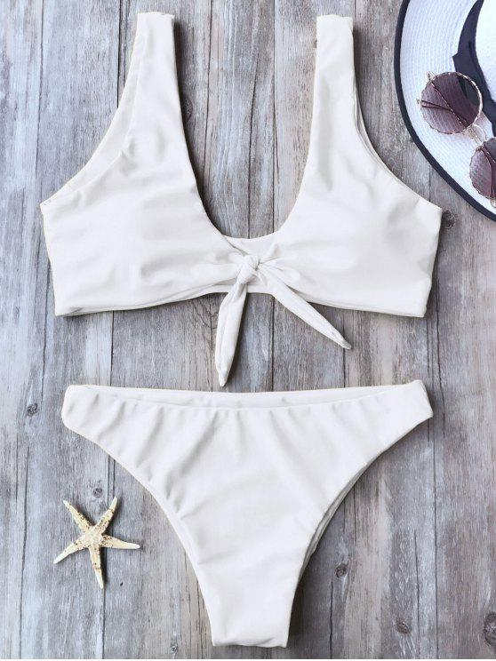trendy Knotted Scoop Bikini Top and Bottoms - WHITE L