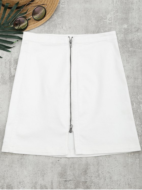 ladies Front Slit Zip Up A Line Skirt - WHITE S