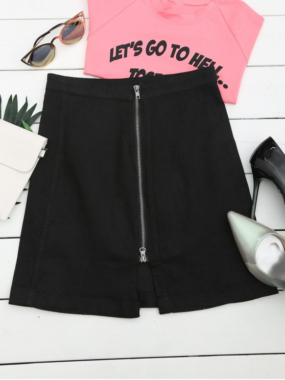lady Front Slit Zip Up A Line Skirt - BLACK L