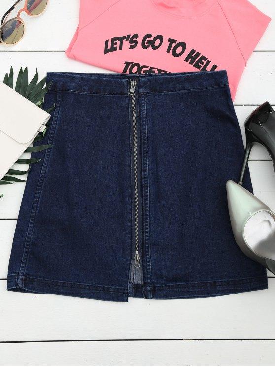 hot Front Slit Zip Up A Line Skirt - DEEP BLUE L