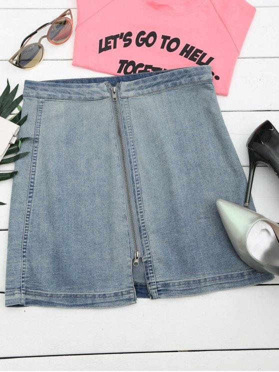 fashion Front Slit Zip Up A Line Skirt - DENIM BLUE M