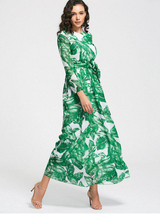 affordable Leaves Print Belted Maxi Dress - GRASS GREEN M