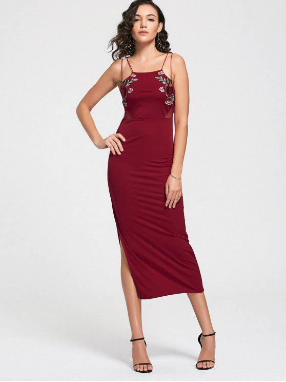 women Floral Patched Mesh Panel Slit Cami Dress - RED ONE SIZE