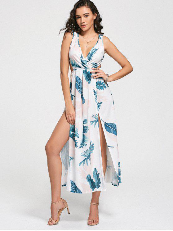 فستان عالية الانقسام طباعة الأوراق غارق الرقبة - أبيض L