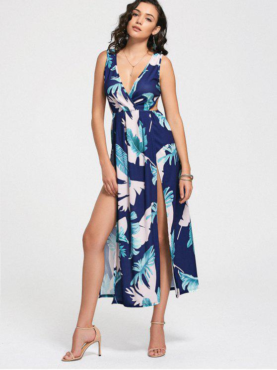 فستان عالية الانقسام طباعة الأوراق غارق الرقبة - أزرق S